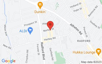 Map of Castle Cavendish Works, Dorking Road, Radford, Nottingham NG7 5PN, UK