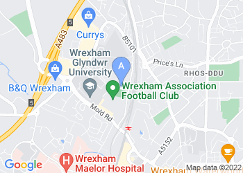 Map for Wrexham Glyndwr University