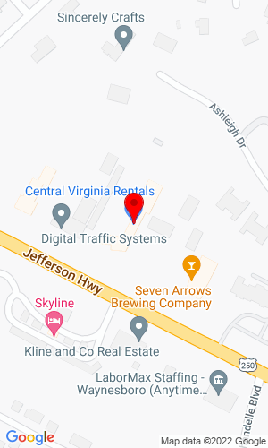 Google Map of Central Virginia Rental 2482 Jefferson Highway , Waynesboro, VA, 22980