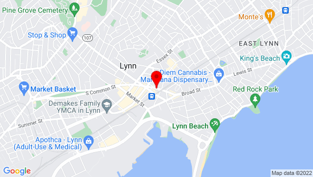 Google Map of Central Square, Lynn, MA 01901
