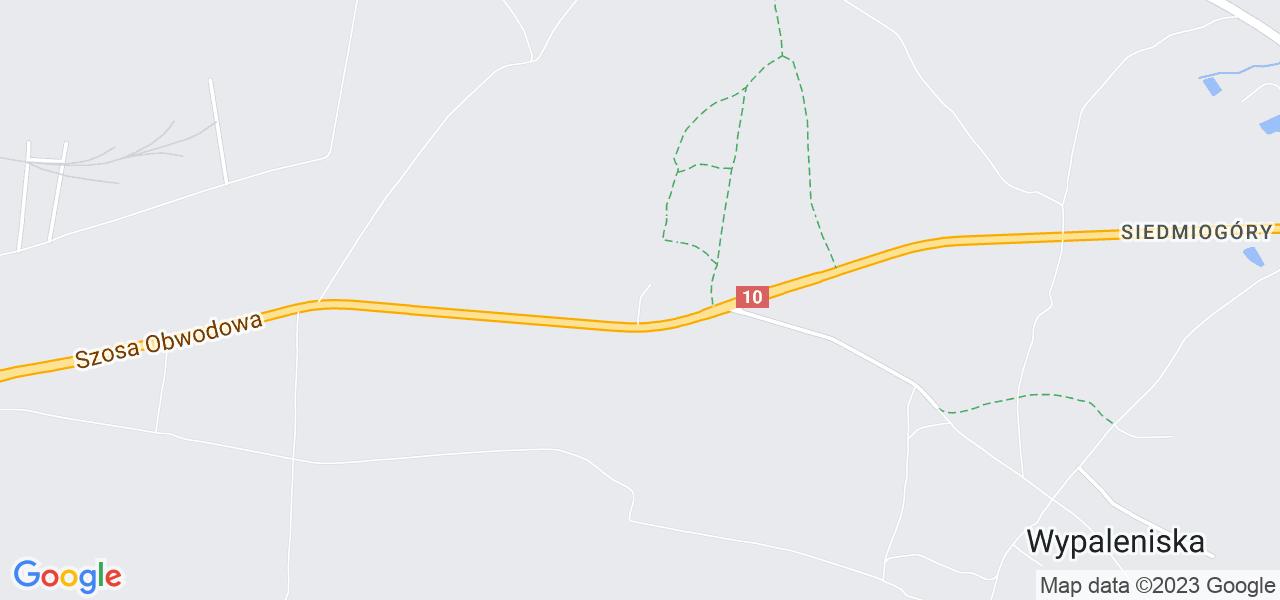 Jedna z ulic w Chmielnikach – Bydgoska i mapa dostępnych punktów wysyłki uszkodzonej turbiny do autoryzowanego serwisu regeneracji