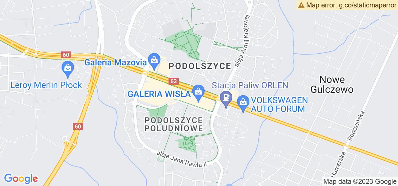 Jedna z ulic w Chodkowie-Działkach – Wyszogrodzka i mapa dostępnych punktów wysyłki uszkodzonej turbiny do autoryzowanego serwisu regeneracji