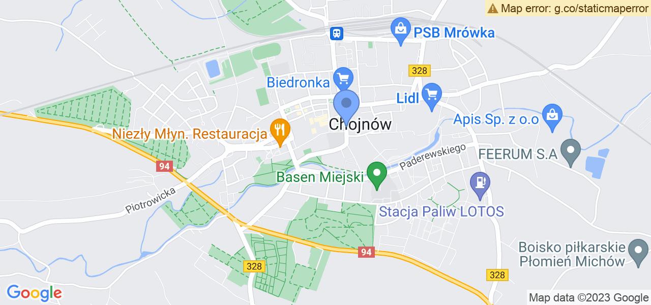 Jedna z ulic w Chojnowie – Mikołaja Reja i mapa dostępnych punktów wysyłki uszkodzonej turbiny do autoryzowanego serwisu regeneracji