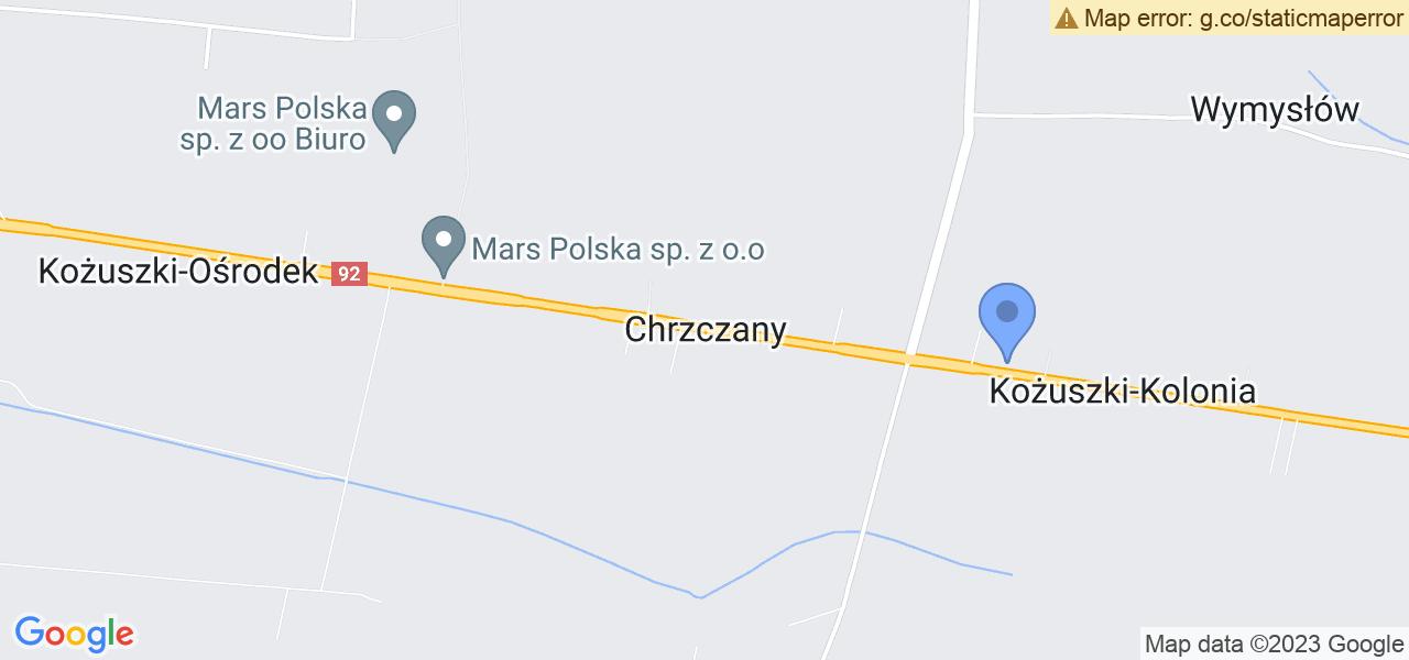 Jedna z ulic w Chrzczanach – Chrzczany 5A i mapa dostępnych punktów wysyłki uszkodzonej turbiny do autoryzowanego serwisu regeneracji