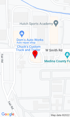 Google Map of Chucks Custom LLC 750 West Smith Road, Medina, OH, 44256
