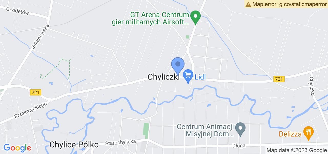 Jedna z ulic w Chyliczkach – Wschodnia i mapa dostępnych punktów wysyłki uszkodzonej turbiny do autoryzowanego serwisu regeneracji