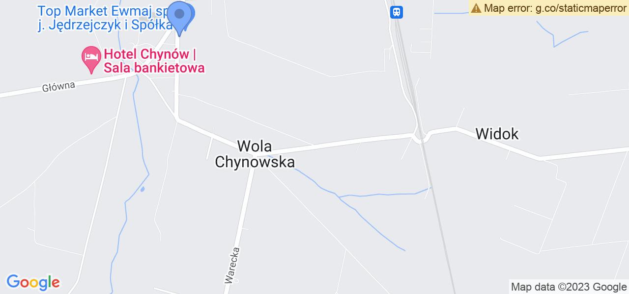 Jedna z ulic w Chynowie – Wolska i mapa dostępnych punktów wysyłki uszkodzonej turbiny do autoryzowanego serwisu regeneracji