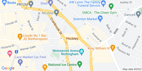 Static map of City Arts, 11-13 Hockley, Nottingham, NG1 1FH, provided by Google
