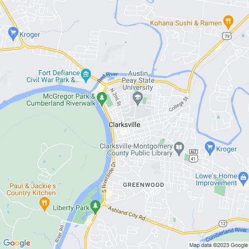 Map of Clarksville, TN