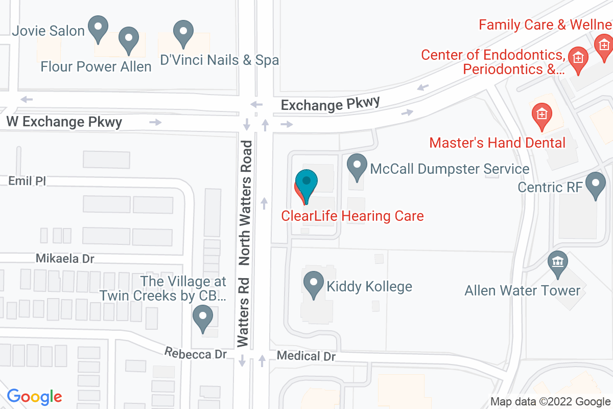 Google Map of ClearLife Hearing Care Allen, TX