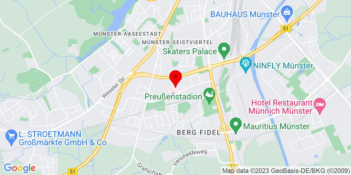 Google Map of Clemenshospital,+Düesbergweg+124,+48153+Münster,+Deutschland