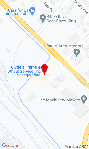Google Map of Clyde's Frame and Wheel Service 725 Cesar E Chavez Avenue, Pontiac, MI, 48340