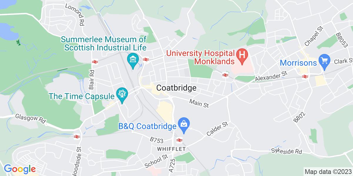 Map: Plumber job role in Coatbridge