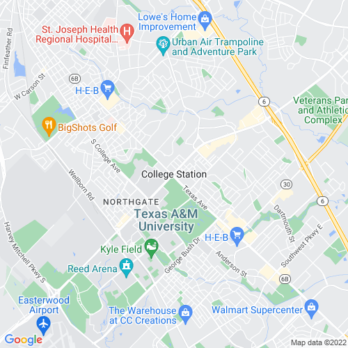 Map of College Station, TX