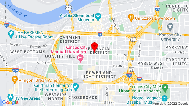 Google Map of Commerce Bank Building, 1000 Walnut Street, Suite 211, Kansas City, MO 64106