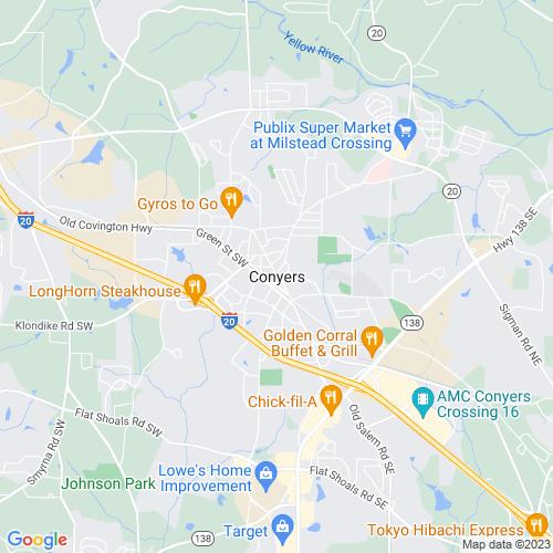 Map of Conyers, GA