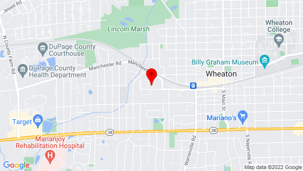 Google Map of Corner of Washington and Franklin streets, Wheaton, IL 60187