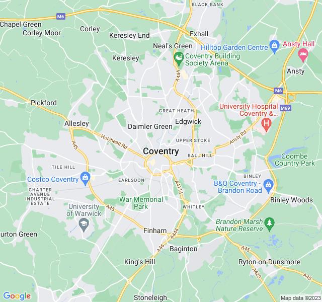 Website Designer Coventry Google map of location