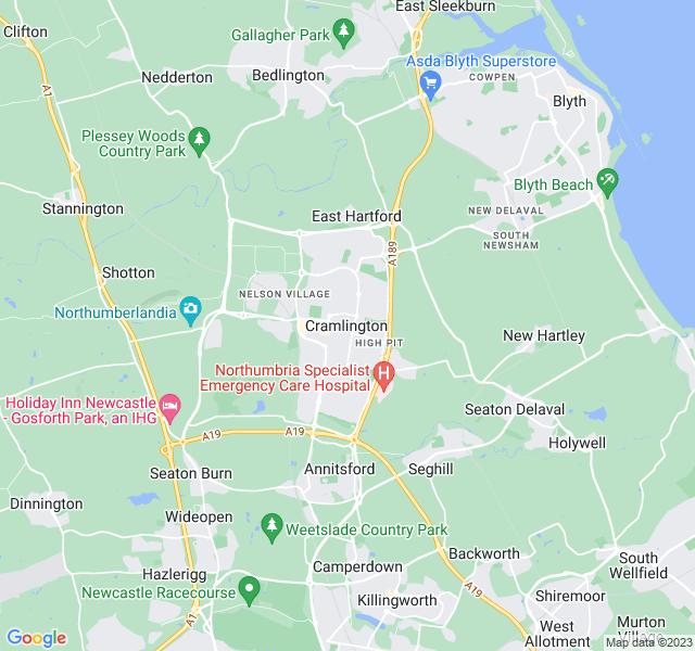 Website Designer Cramlington Google map of location