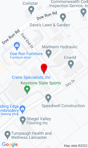 Google Map of Crane Specialists 70 E End Drive, Manheim, PA, 17545