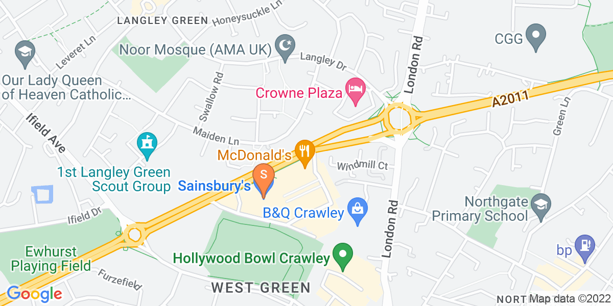 Google Map of Crawley Avenue Crawley RH10 8NF