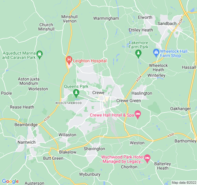 Website Designer Crewe Google map of location