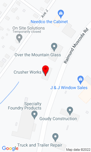Google Map of Crusher Works 1166 Raimund Muscoda Road, Birmingham, AL, 35020