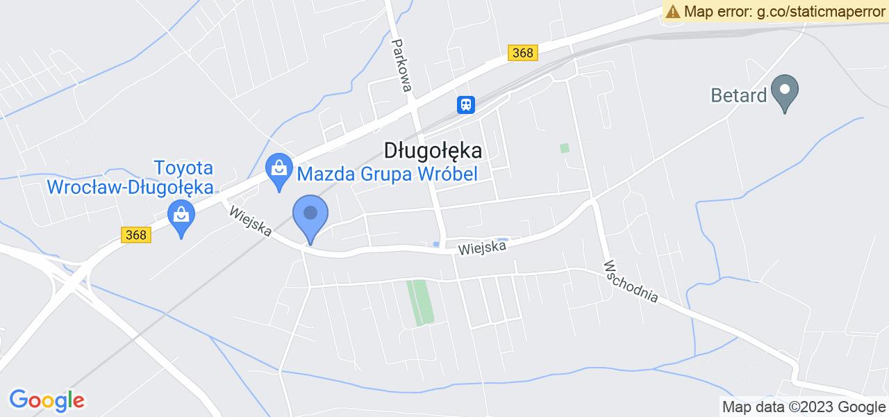 Jedna z ulic w Długołęce – Słoneczna i mapa dostępnych punktów wysyłki uszkodzonej turbiny do autoryzowanego serwisu regeneracji