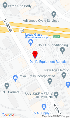 Google Map of Dahl's Equipment Rentals 1110 North Tenth Street, San Jose, CA, 95112