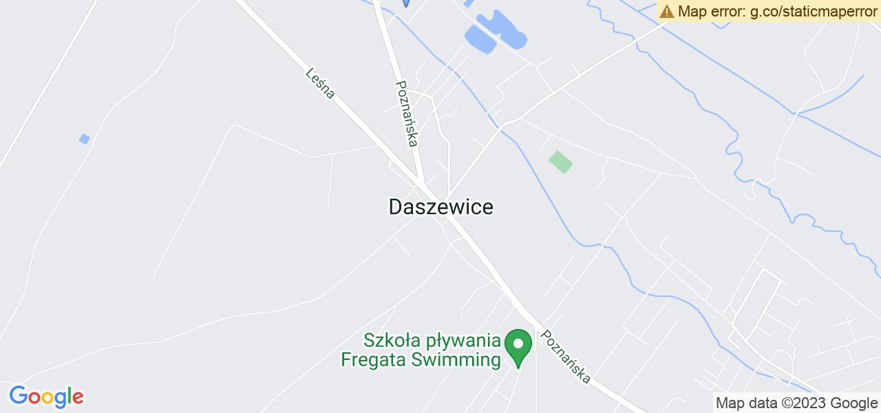 Jedna z ulic w Daszewicach – Poznańska i mapa dostępnych punktów wysyłki uszkodzonej turbiny do autoryzowanego serwisu regeneracji