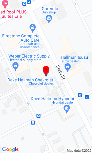 Google Map of Dave Hallman Chevrolet 1925 State Street, Erie, PA, 16501
