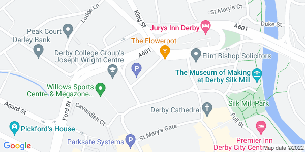Static map of Deda Chapel Street, Cathedral Quarter, DERBY Derbyshire DE1 3GU, provided by Google