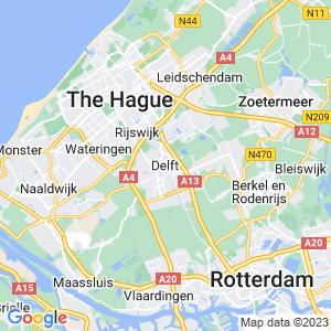 Werkgebied van onze bestrijder in Delft