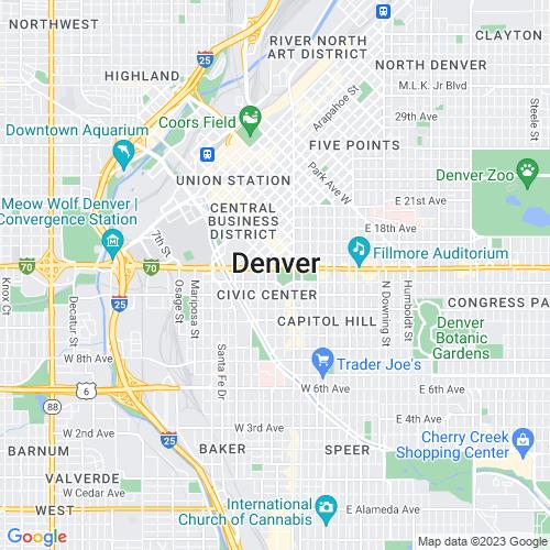 Map of Denver, CO