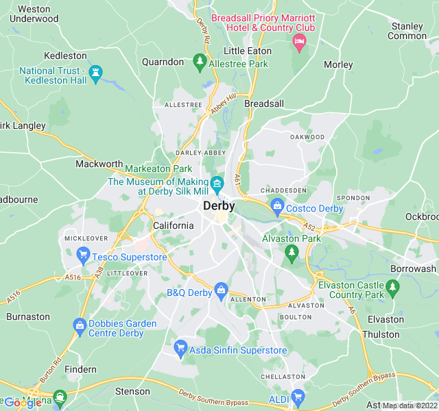 Website Designer Derby Google map of location