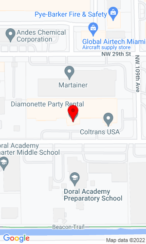 Google Map of Diamonette Party Rental  11091 N.W 27Th Street Suite 100, Doral , FL, 33172