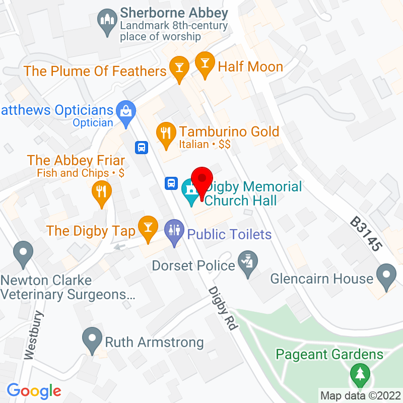 Google Map of Digby Memorial Hall, Digby Road, Sherborne