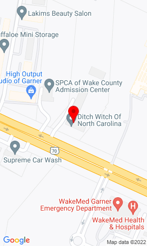 Google Map of Ditch Witch of North Carolina, Inc. 329 US Highway 70 E, Garner, NC, 27529,