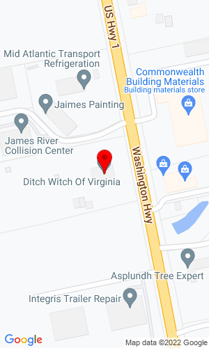 Google Map of Ditch Witch of Virginia 11053 Washington Hwy, Glen Allen, VA, 23059