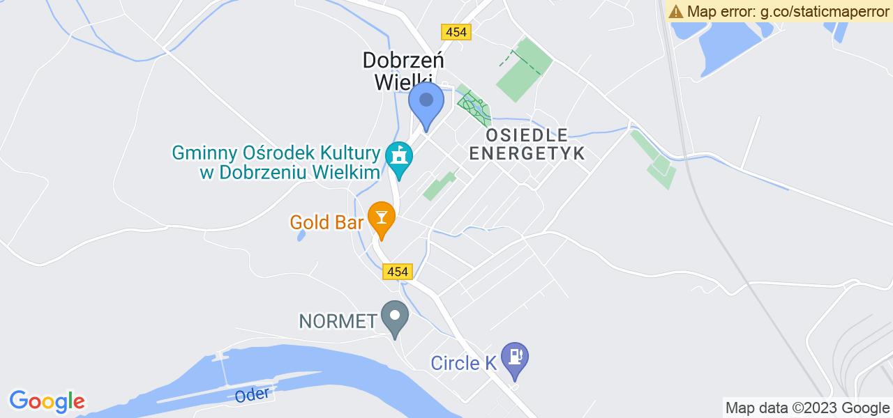 Jedna z ulic w Dobrzniu Wielkim – Wspólna i mapa dostępnych punktów wysyłki uszkodzonej turbiny do autoryzowanego serwisu regeneracji