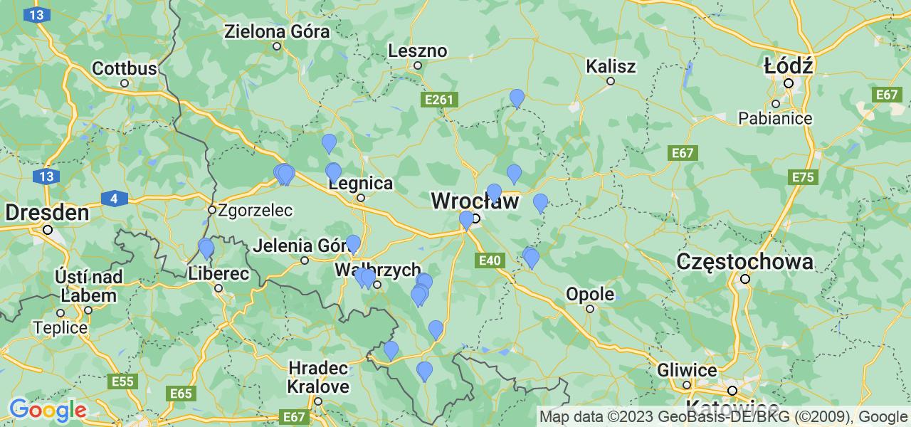 Rozmieszczenie punktów odbioru turbosprężarek do regeneracji w województwie dolnośląskim