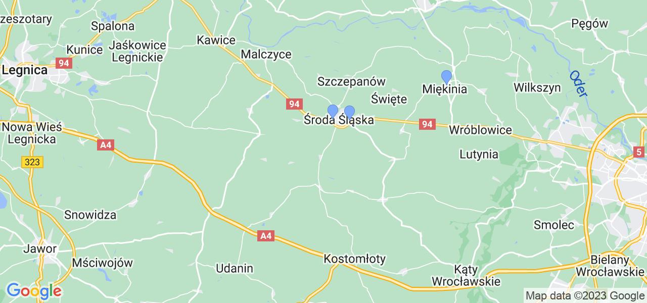 Mapka lokalizacji punktów nadania, z których mogą korzystać klienci serwisu regeneracji turbo w celu wysłania turbosprężarki – powiat średzki (dolnośląskie)