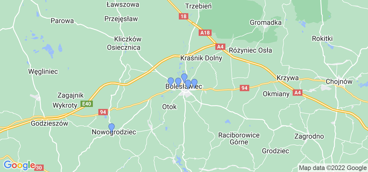 Mapka lokalizacji punktów nadania, z których mogą korzystać klienci serwisu regeneracji turbo w celu wysłania turbosprężarki – powiat bolesławiecki