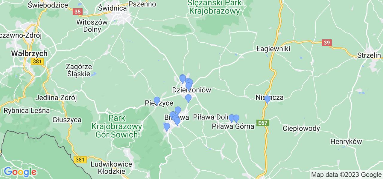 Mapka lokalizacji punktów nadania, z których mogą korzystać klienci serwisu regeneracji turbo w celu wysłania turbosprężarki – powiat dzierżoniowski