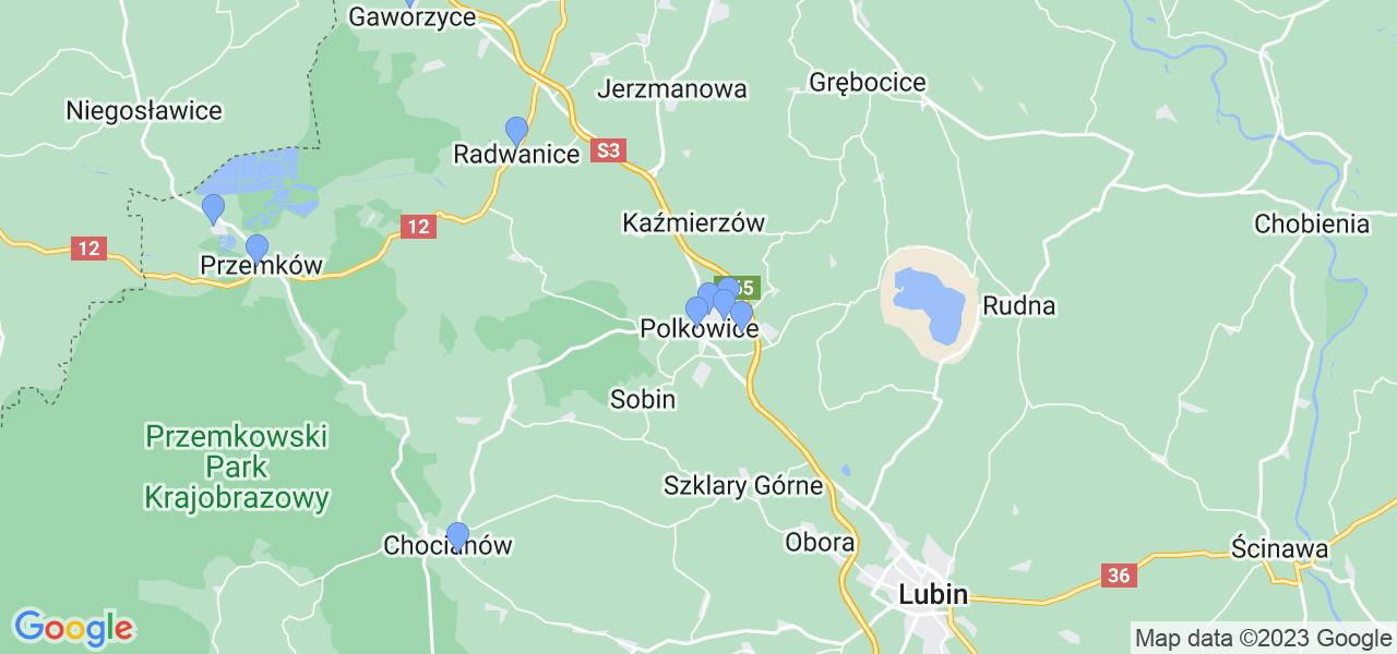 Mapka lokalizacji punktów nadania, z których mogą korzystać klienci serwisu regeneracji turbo w celu wysłania turbosprężarki – powiat polkowicki