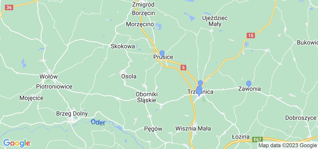 Mapka lokalizacji punktów nadania, z których mogą korzystać klienci serwisu regeneracji turbo w celu wysłania turbosprężarki – powiat trzebnicki