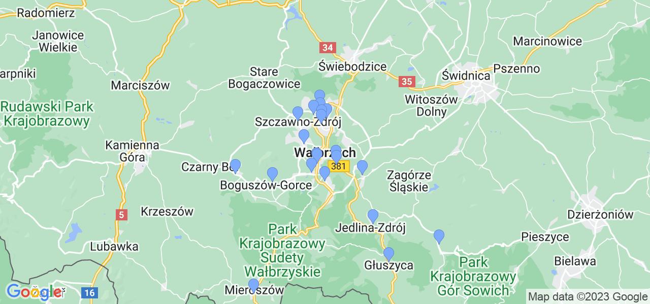 Mapka lokalizacji punktów nadania, z których mogą korzystać klienci serwisu regeneracji turbo w celu wysłania turbosprężarki – powiat wałbrzyski
