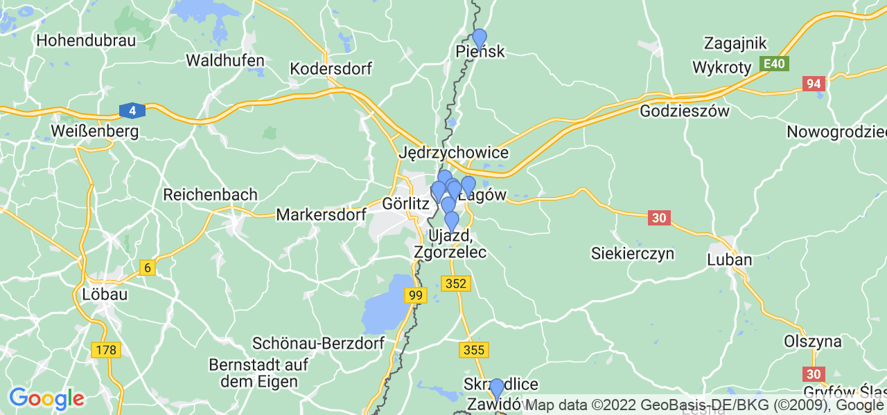 Mapka lokalizacji punktów nadania, z których mogą korzystać klienci serwisu regeneracji turbo w celu wysłania turbosprężarki – powiat zgorzelecki