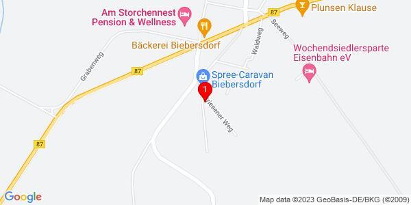 Google Map of Dorfstraße 35,Biebersdorf, 15913 Märkische Heide,Pension & Wellness am Storchennest Familie Mertke