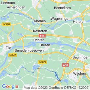 Werkgebied van onze bestrijder in Druten